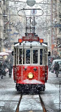 Winter, Christmas time, Tram by Niyazi Uğur Genca - Istanbul / Turkey. What a beautiful shot! Winter Scenes, Snow Scenes, Winter Christmas, Christmas Time, Christmas Train, Winter Snow, Merry Christmas, Christmas Shopping, Vienna Christmas