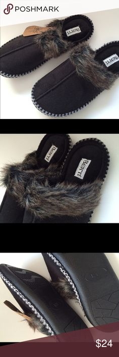 Born slipper/mule black M/L NWT faux fur Adorable! Suede like with fur trim. Brand new! BORN b.o.c. Born out of comfort! Size med/large super comfy with sturdy bottom. Born Shoes Slippers