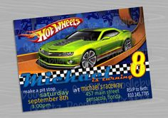 turn around. Choose Your Size or Race Car Birthday, Cars Birthday Parties, Birthday Party Invitations, It's Your Birthday, Boy Birthday, Hot Wheels Party, Personalized Invitations, First Birthdays, Party Ideas