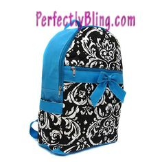 QUILTED FLORAL BACKPACK WITH BOW - AQUA BLUE BACKPACK $24.99