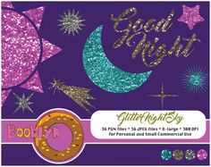 ❂❂❂ This listing is for an DIGITAL FILES only ❂❂❂  Glitter Night Sky For Scrapbooking Code: L-CA-0021  This listing contains a set (36 files) of