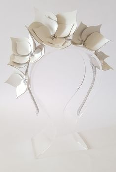 White &Silver Leather Crown,Headband,Fascinator,Leather Headpiece | eBay