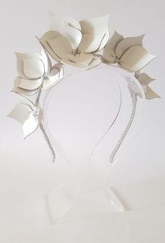 White &Silver Leather Crown,Headband,Fascinator,Leather Headpiece  | eBay
