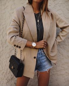 outfit with blazer Stylish Summer Outfits, Basic Outfits, Mode Outfits, Trendy Outfits, Fashion Outfits, Womens Fashion, Fashion Tips, Spring Outfits, Dress Outfits