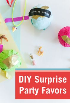 When it comes to kids party favors, piñata stuffers, and goodie bags, it can be a challenge to think of exciting, non-edible treats. But, if you get a little creative, you can rank favorably with parents and kids alike. These DIY Surprise Balls are perfect for kids birthday, gender reveals, party invitations, etc. All you need are streamers, tape, and tiny surprises that can be found in party supply aisles or dollar stores.
