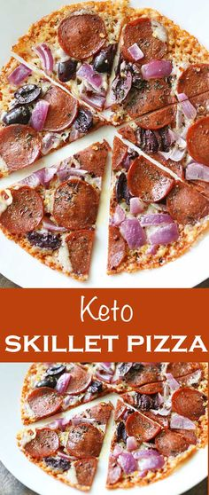 Crispy keto skillet pizza is ready fast and is very easy to make. It's a great low carb snack!