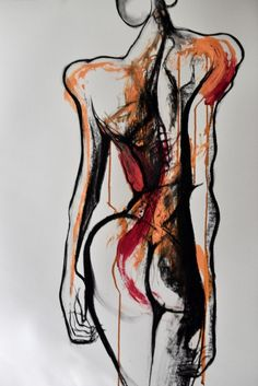 Drawing by Carmel Jenkin,Solemn, mixed media on paper, x. by Carmel Jenkin Human Body Drawing, Male Figure Drawing, Figure Drawing Reference, Guy Drawing, Life Drawing, Drawing People, Figure Drawings, Anatomy Reference, Distortion Art