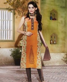 Buy Fine Orange Readymade Salwar Kameez online at  https://www.a1designerwear.com/fine-orange-readymade-salwar-kameez-3  Price: $47.88 USD