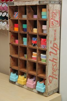 Love how Smashed Peas and Carrots organizes her washi tape supplies. And check out those tape dispensers --nope, not designer, just prettied up with cheap can of spray paint to look that way.