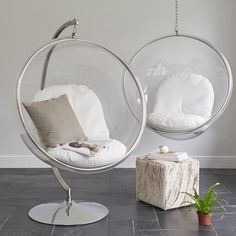 Bubble Inspired Hanging Chair on Stand   Wallace Sacks
