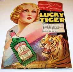 1920'S+Advertising | Fabulous Lucky Tiger 1920's Barber Shop Advertising Sign from labazaar ...