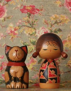 vintage Kokeshi doll and cat