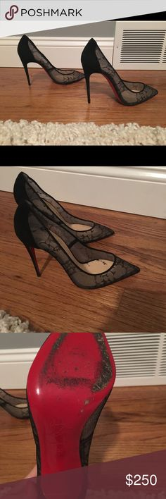 Christian Louboutin lace heels! Fabulous Christian Louboutin spike black laced heels! Size 37 (7 US). Moderately worn.  Awesome deal! Christian Louboutin Shoes Heels