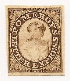 Local US stamps, Pomeroy's Letter Express, Scott unlisted or included under color Lake, 5 Cent Brown, issued July 1844