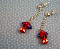 Someone wanna get me these?!    Hanging Spiderman Stud Earrings by BellasQtique on Etsy, $10.00