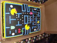 Pac man cake Pac Man Party, 80s Party, Man Birthday, Birthday Ideas, Birthday Parties, Video Game Party, Party Games, Pac Man Cake, Cake Designs