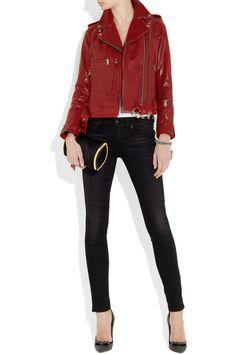 R13|Glossed-leather biker jacket|NET-A-PORTER.COM