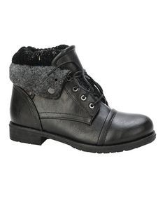 Another great find on #zulily! Black Fold-Over Sweater Boot #zulilyfinds