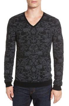 John Varvatos Star USA Jacquard V-Neck Sweater