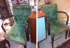 Pair of Early 20th Century Bent Oak Chairs covered in original panne' crushed velvet.