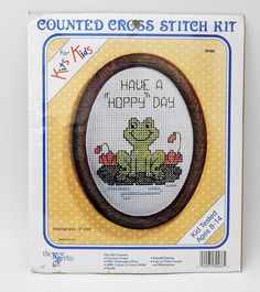 New Berlin Counted Cross Stitch Kit 30466 Kits For Kids Have A Hoppy Day #Frog #TheNewBerlinCo #Frame