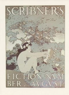 Scribner's Fiction November August, Fairy Woman Reading A Book In The Trees Of The Woods, American Poster Print, Printed In The United States Of America, Vintage 1976