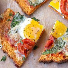Sweet Potato Breakfast Pizza With Sweet Potatoes, Eggs, Coconut Flour, Italian Seasoning, Sea Salt, Garlic Powder, Shredded Mozzarella Cheese, Marinara Sauce, Fresh Spinach, Small Tomatoes, Eggs