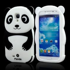 Black/ White Panda Bear Silicone Case for Samsung Galaxy S4