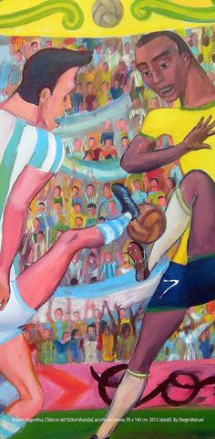 Brasil – Argentina, Clásicos del fútbol Mundial, acrylic on canvas, 95 x 140 cm…
