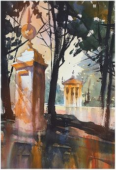Thomas W Schaller  Lago - Borghese Gardens - Day Three Quick Sketch Two: Study in intuitive , loose, expressive painting. — at Rome, Italy.