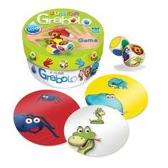 Kto má najrýchlejšie oči? Kto má najrýchlejšie ruky? Kto vydrží najviac?  Grabolo je zábavná postrehová hra, v ktorej hrajú všetci hráči naraz a snažia sa zareagovať správne a čo najrýchlejšie. A teraz prichádza Grabolo Junior, určené pre najmenších hráčov, v ktorom sú namiesto čísel zvieratká.   Hodené kocky určia kombináciu farby a zvieratka - kto prvý pleskne po správnej karte na stole, získa ju. Ak na stole nie je, kto prvý vykríkne meno jej majiteľa,
