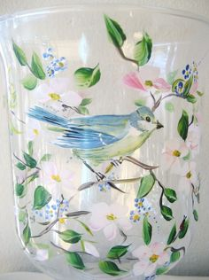 Hand painted glass hurricane with dogwood flowers and blue bird, Mothers Day gift, Easter