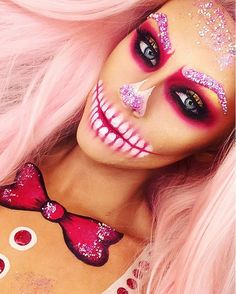 Close up of my gingerbread skull 💗❤️💀 Wig: @powderroomd in Cupcake.  Products: @makeupforeverirl flash color palette in white black and red. Pigments from @wonderlandmakeup  Lashes: @houseoflashes in Iconic. Brushes: @sigmabeauty  @fxcosplay_ black and red paint on neck. #fxcosplay #nightmarebeforechristmas #jackskellington #amazingmakeupart #skullmakeup #dupemag #skulltress #skullart #artoftheday #mua  #muashoutouts #faceart #facepainting #maccosmetics #maccosmeticsuk #bbloger #glitter…