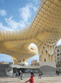 The Metropol Parasol by architectural studio Jürgen Mayer H. Covers the Plaza de la Encarnación and Roman ruins in Seville, Spain. 2011