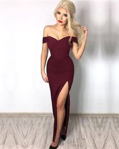 Plus Size Prom Dress, burgundy long prom dress with side slit, 2018 prom dress formal evening dress Shop plus-sized prom dresses for curvy figures and plus-size party dresses. Ball gowns for prom in plus sizes and short plus-sized prom dresses Pretty Dresses, Sexy Dresses, Beautiful Dresses, Fashion Dresses, Long Dresses, Dress Long, Long Gown With Slit, Off The Shoulder Dress Formal, Summer Dresses