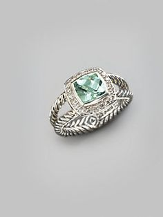 David Yurman Prasiolite, Diamond & Sterling Silver Ring