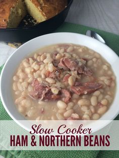 For so many years, I served my family baked ham dinners and threw away the hambone. Now I'm kicking myself. To think I could've been serving up Slow Cooker Ham and Northern Beans all this time! Soup Beans, Ham And Bean Soup, Bake Beans, Slow Cooker Recipes, Crockpot Recipes, Cooking Recipes, Crockpot Dishes, Cooking Ham, Cooking Pasta