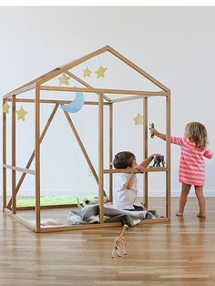 Framehouse is a wooden inside playhouse with clean and open structure for kids' imaginary play. It's created by North Forty Design. Inside Playhouse, Build A Playhouse, Indoor Playhouse, Modern Playhouse, Play Spaces, Kid Spaces, Small Spaces, Cubbies, Kids Decor