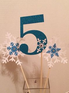 Frozen Glitter Cake Topper Centerpiece Age Snowflake Sticks, Birthday Party Wedding Table Decoration on Etsy, $15.00