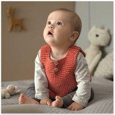 Phildar - Vest Baby Orange - pattern in French Baby Boy Knitting Patterns, Baby Cardigan Knitting Pattern, Baby Clothes Patterns, Knitting For Kids, Baby Patterns, Dyi Couture, Baby Couture, Baby Boy Vest, Kids Vest