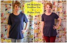 Turn a men's t-shirt into a cute peplum top! Free tutorial with pictures on how to make a peplum top in under 60 minutes by sewing and dressmaking with t shirt, marking tool, and pins. How To posted by shanniloves. in the Sewing section Difficulty: T-shirt Refashion, Diy Clothes Refashion, Diy Clothing, Sewing Clothes, Stitch Clothing, Refashioning Clothes, Peplum Tshirt, T Shirt Diy, Umgestaltete Shirts
