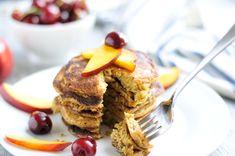Oatmeal Pancakes with Nectarines and Cherries #glutenfree #dairyfree