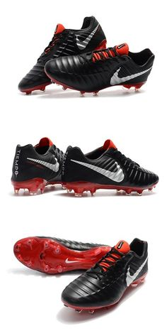 New Nike Tiempo Legend VII FG Kangaroo Boots - Black Red White Nike Football  Boots 7f31b13b8