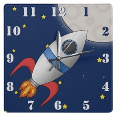 Cute Cartoon Space Rocket Ship Wall Clocks perfect for little boys bedrooms!
