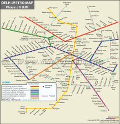 Delhi Metro Map offers information about the metro network of the city in India. Delhi Metro Map indicates the names of the metro stations its routes and shows the names of the places that are connected by Delhi metro. Metro Route Map, Metro Map, Nyc Subway Map, Delhi Metro, Local Dating, North America Map, Most Romantic Places, Paris Map, Metro Station