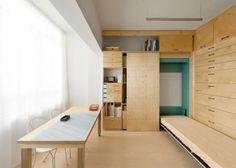 Diseño de módulo para mini apartamento con escritorio