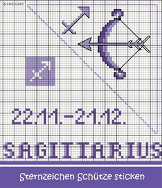 Sternzeichen Jungfrau sticken #Sticken #Kreuzstich / #Sternzeichen #Schütze; #Embroidery #Crossstitch / #starsign #Sagittarius / #ZWEIGART Plastic Canvas Coasters, Pixel Art, Mittens, Cross Stitch Patterns, Zodiac Signs, Journaling, Couture, Embroidery, Words