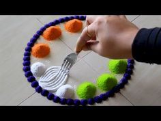 Simple rangoli using fork for Independence day l Rangoli designs for August 15th l Kolam muggulu - YouTube