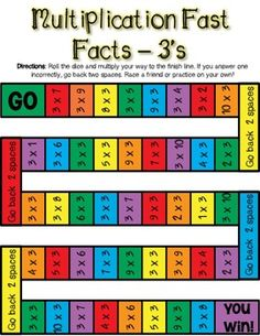 Multiplication Fast Facts Board Game - and Math Bingo, Multiplication Practice, Math Board Games, Math Games, Classroom Rules Poster, Lego Math, Alphabet, Math School, Math Projects