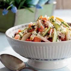 Crispness reigns in this Sweet and Tangy Melon Slaw. Fresh, juicy fruits and vegetables are cut matchstick-style and tossed with a minted honey dressing.  Recipe: Sweet and Tangy Melon Slaw
